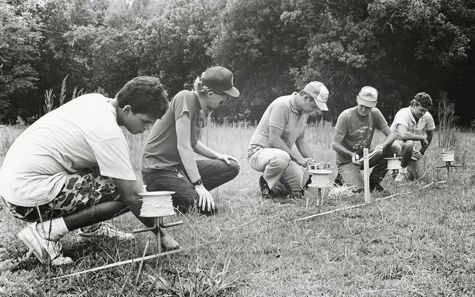 Geologists Drs. Anthony F. Randazzo and Doug Smith performing field work circa 1970s